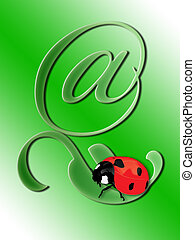 Ladybird on a green leaf in the form of e-commerce @