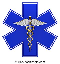 Star of life medical symbol isolated on a white background
