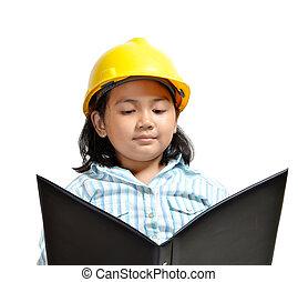 Engineer Girl - beautiful young asian girl acting as future...