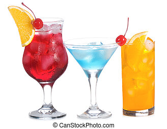 cocktail with fruits on white background