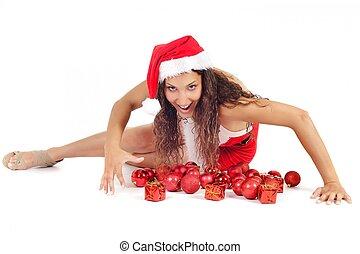 santa woman and ornament