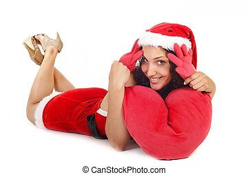 single santa woman heart