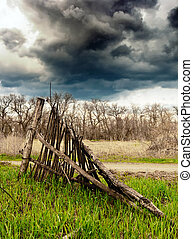 old fence - old broken wooden fence