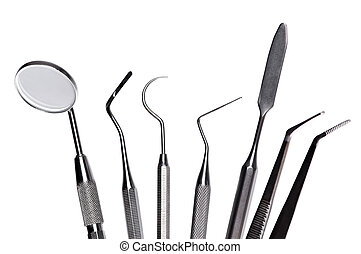 set of dental care instruments - Set of metal medical...