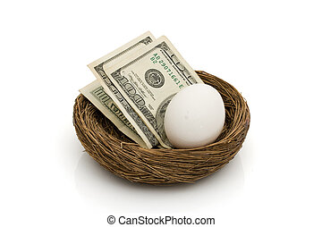 Saving for your retirement - Money with an egg in a nest...