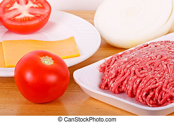 Ground Beef Tomatos Onions and Cheese - Fresh ground beef,...
