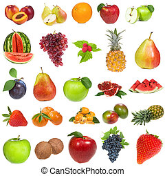 set with fruits and berries on white background