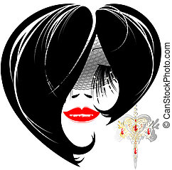femal image with jewelry earring - on a white background is...