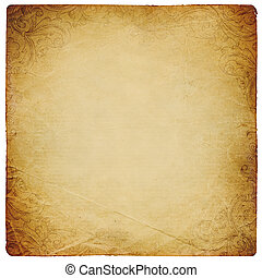 Ornated vintage square shaped paper sheet. Isolated on white.