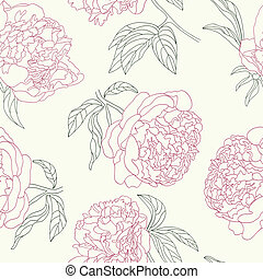 Peony flowers seamless background - Hand drawing tenderness...