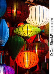 Silk Lanterns Glowing in A Market - Asian silk lanterns Lit...