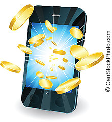 Gold coins flying out of smart mobile phone - Conceptual...