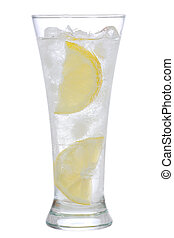 cocktail with gin and lemon with ice on white background