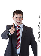Successful young entrepreneur holds thumb up happy