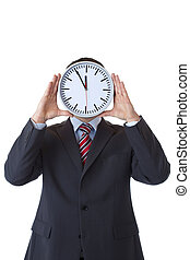 Executive with clock in front of face as a sign of stress