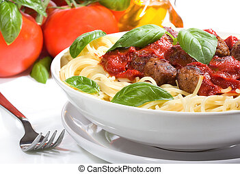 pasta with meatballs and basil