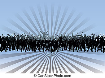 Disco dancing and young people Vector illustration