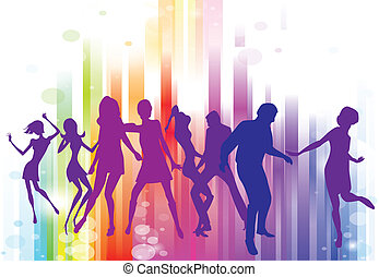 Disco dancing and young people. Vector illustration