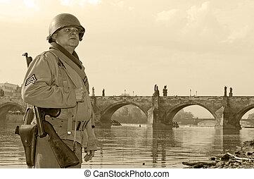 American Soldier - American soldier in Prague, Charles...