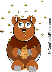 silly brown bear on white