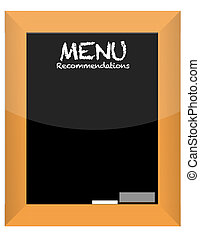 menu recommendations on blackboard with frame illustration...