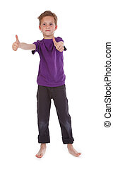 boy showing ok sign on white