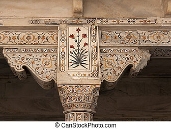 Beautiful marble lay-in work of flowers on pillar top -...