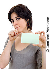 card - young beautiful woman showing a card, isolated