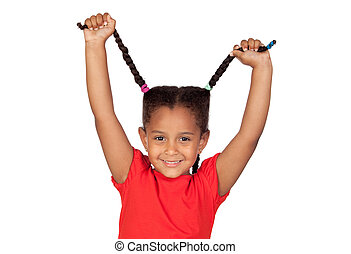 Little girl pulling their long tresses isolated on a over...