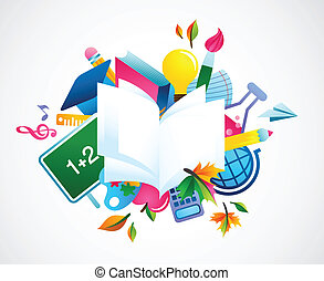 back to school - colorful background, vector