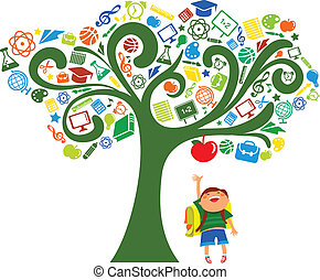 espalda, escuela, -, árbol, educación, iconos