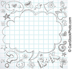 back to school - notebook with doodles, vector illustraton