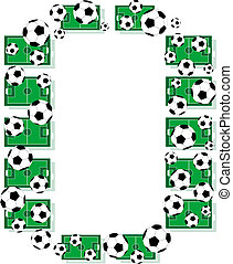 O, Alphabet Football letters made of soccer balls and fields