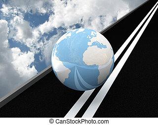 Planet Earth on the asphalt against the sky. 3D