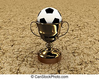 Soccer ball and the cup on a white background