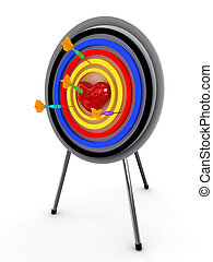 Heart on a target with an darts isolated on white background. 3D
