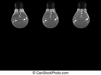 Three light bulb isolated on black background 3D