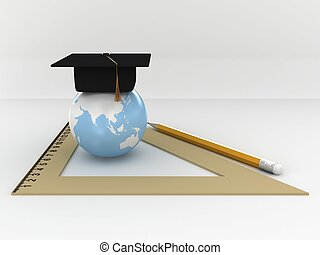 Master's cap for graduates in the globe with ruller and pensil. 3D