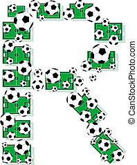 R, Alphabet Football letters made of soccer balls and fields