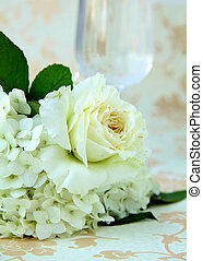 beautiful bridal bouquet of white roses on a vintage...