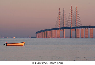 Morning bridge - The bridge between Denmark and Sweden,...