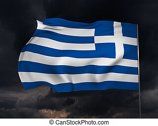 Flag of Greece - National flag of Greece in a dark ominous...
