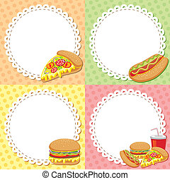 fast food backgrounds - set of four colorful fast food...