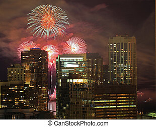 Fireworks in the City - Beautiful fireworks in Chicago, as...
