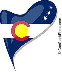 colorado flag button heart shape. vector