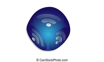 Animated web button rss loop - Radiating rss icon on a blue...