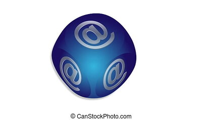 Animated mail button - Flashing email icon on a blue 3d cube