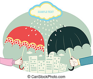 Hands holding umbrellas in raining day.Vector retro colored...