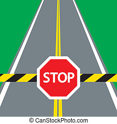 road barrier and traffic sign STOP