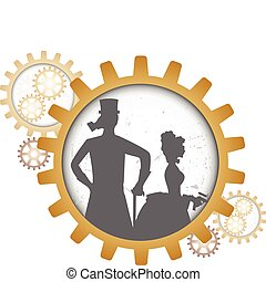 Silhouettes of steampunk couple ins - Gray outline of man...